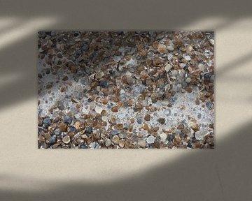 Een Stroom Zeeschuim door Schelpjes op het Strand - Schilderij