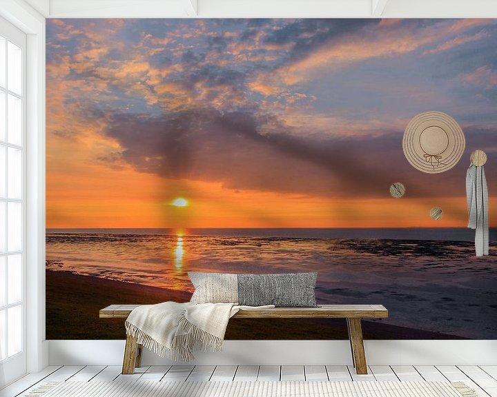 Sfeerimpressie behang: Zonsondergang Eemshaven Groningen van Marga Vroom