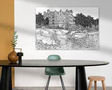 Pendrawing Brouwersgracht Prinsengracht Jordaan Amsterdam Pays-Bas Dessin en or Dessin au trait sur Hendrik-Jan Kornelis