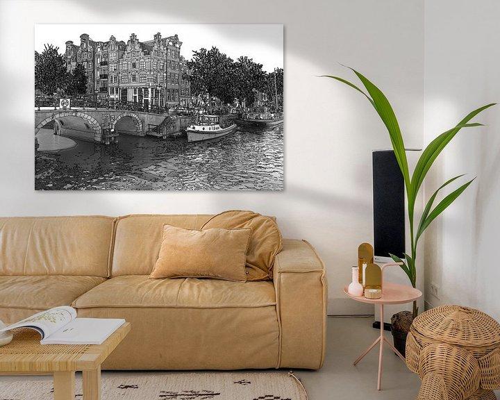 Sfeerimpressie: Pentekening Brouwersgracht Prinsengracht Jordaan Amsterdam Nederland Goud Tekening Lijntekening Zwar van Hendrik-Jan Kornelis
