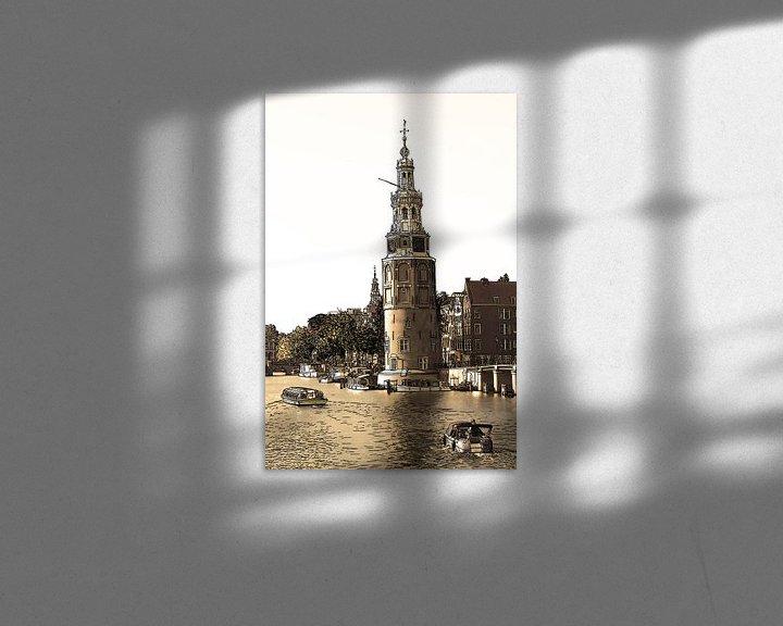 Sfeerimpressie: PentekeningAmstel Montelbaanstoren Amsterdam Nederland Tekening Lijntekening Sepia van Hendrik-Jan Kornelis