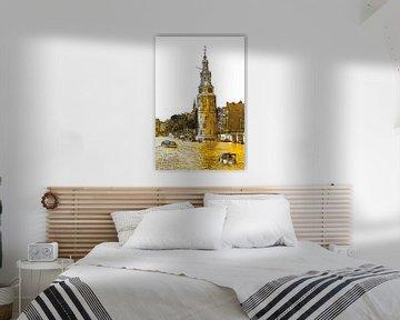 PendrawingAmstel Montelbaanstoren Amsterdam Pays-Bas Dessin au trait Or sur Hendrik-Jan Kornelis