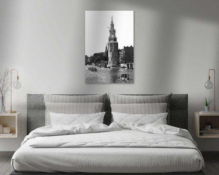 Sfeerimpressie: Pentekening Amstel Montelbaanstoren Amsterdam Nederland Tekening Lijntekening Zwart-Wit van Hendrik-Jan Kornelis