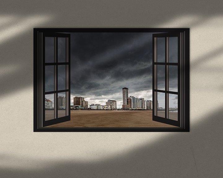 Sfeerimpressie: Donkere wolken boven Vlissingen (Zeeland) vanuit het raam van Fotografie Jeronimo