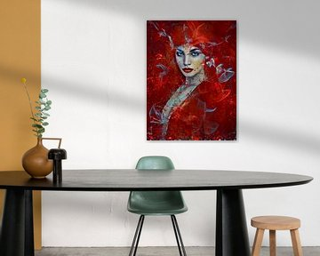 Femme en rouge sur Ria van Werven