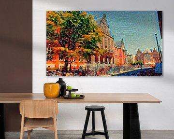 Schilderij Groningen Academiegebouw in Zomer