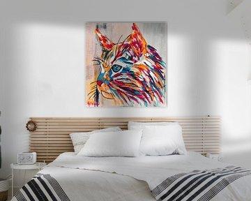 De Roze Kat van Kathleen Artist Fine Art
