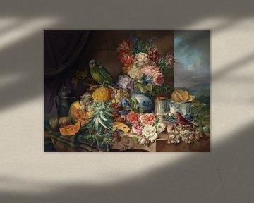 Stillleben mit Früchten, Blumen und Papagei, Josef Schuster