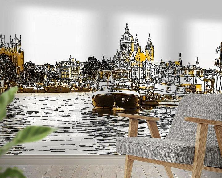 Sfeerimpressie behang: Pentekening Oosterdok Amsterdam Nederland Tekening Lijntekening Goud van Hendrik-Jan Kornelis