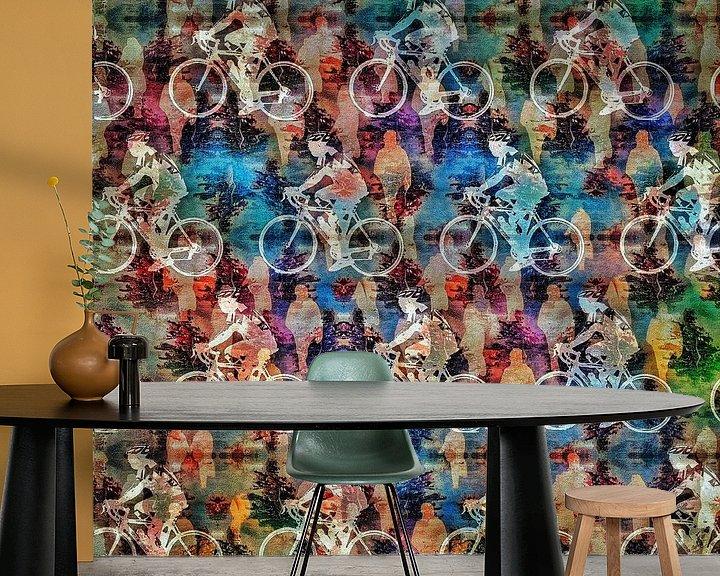 Sfeerimpressie behang: Kleurrijk peloton van Ruben van Gogh