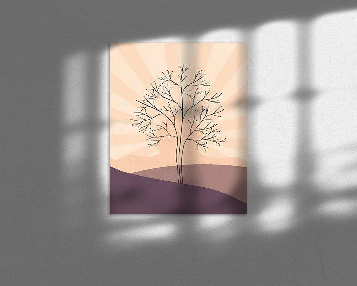 Sfeerimpressie: Minimalistisch landschap met een boom bij zonsondergang van Tanja Udelhofen