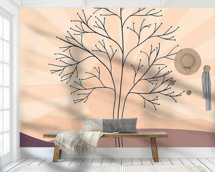 Sfeerimpressie behang: Minimalistisch landschap met een boom bij zonsondergang van Tanja Udelhofen