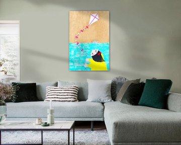 Vliegeren aan zee van Karolina Grenczyk