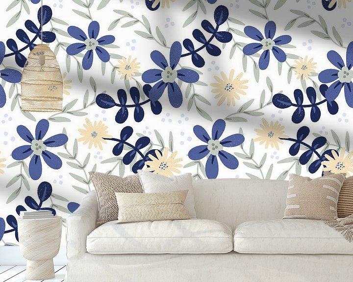 Beispiel fototapete: Tropische Blume Dschungel - moderne Illustration von Studio Hinte