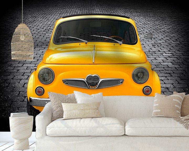 Sfeerimpressie behang: Steyr-Puch 500 in geel van aRi F. Huber