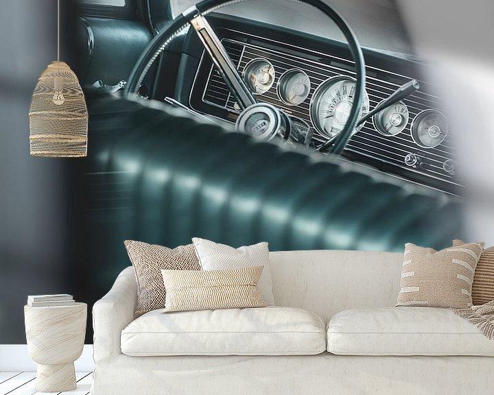 Beispiel fototapete: Blick auf das Lenkrad eines alten amerikanischen Autos von Pim Haring