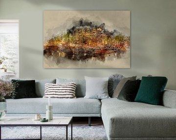 Amsterdam by night (kunst) van Art by Jeronimo