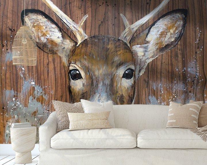 Sfeerimpressie behang: Curious deer van Atelier Paint-Ing