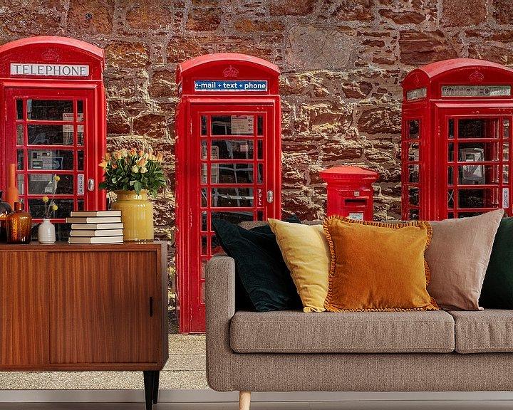 Beispiel fototapete: Rote Telefonzellen England von Gert Hilbink