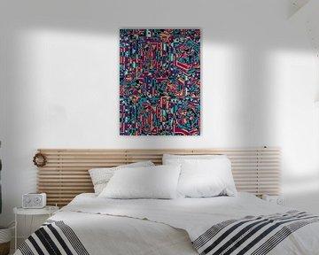 Tauben und kubistische Formen Muster von Rudy en Gisela Schlechter