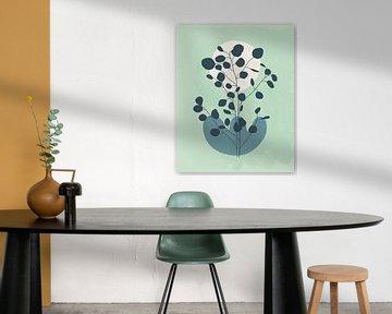 Minimalistisch landschap met een eucalyptus boom in koele kleuren