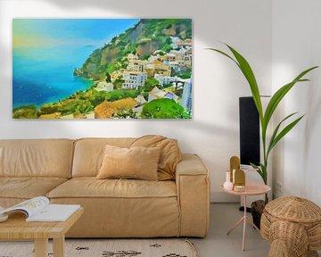 Côte d'Amalfi - Vue sur la mer à Positano - Peinture