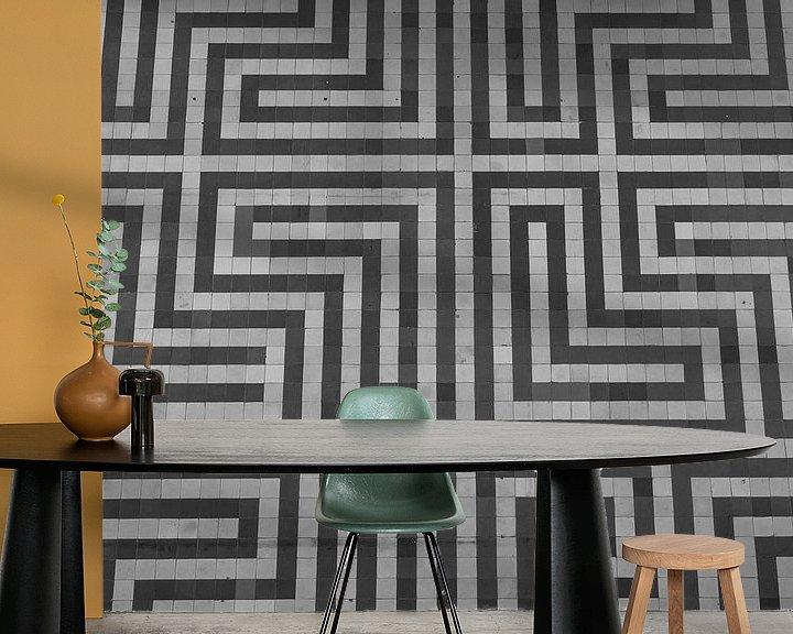 Sfeerimpressie behang: Zigzag vloertegels van Martijn Tilroe