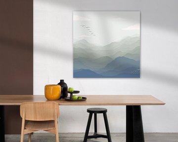 Bergblick mit Vögeln - Grüne und blaue Illustration von Studio Hinte
