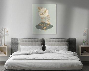 Minimalistisch landschap met een gouden bladplant