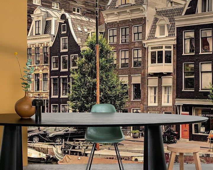 Sfeerimpressie behang: Binnenstad van Amsterdam Nederland Oud van Hendrik-Jan Kornelis