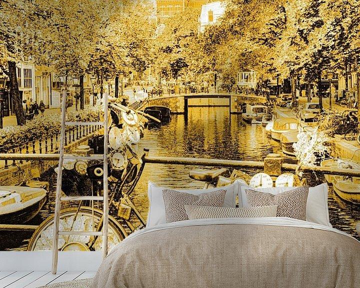 Sfeerimpressie behang: Binnenstad van Amsterdam Nederland Goud van Hendrik-Jan Kornelis