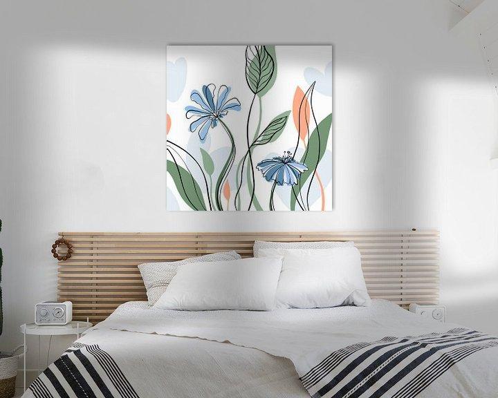Sfeerimpressie: Modern bloemen boeket - minimalistische illustratie van Studio Hinte