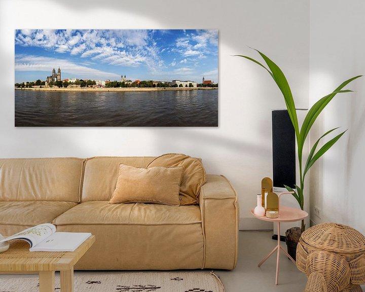 Sfeerimpressie: Panorama skyline Magdeburg van Frank Herrmann