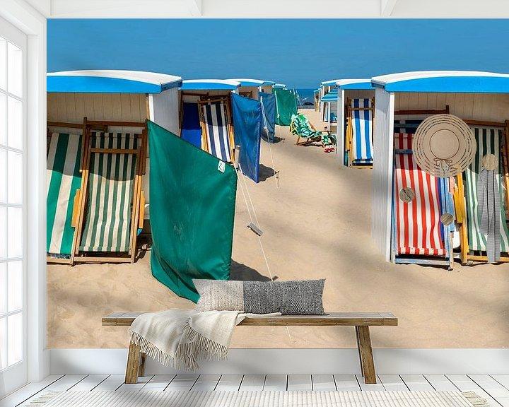 Beispiel fototapete: Strandhütten, eine Sommerszene in Katwijk aan Zee, Südholland von Mieneke Andeweg-van Rijn