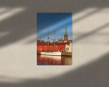 Untertrave , avondlicht, Lübeck, Sleeswijk-Holstein van Torsten Krüger