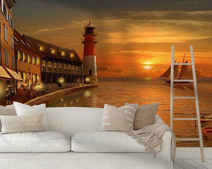 Sfeerimpressie behang: Nostalgische haven in zonsondergang van Monika Jüngling