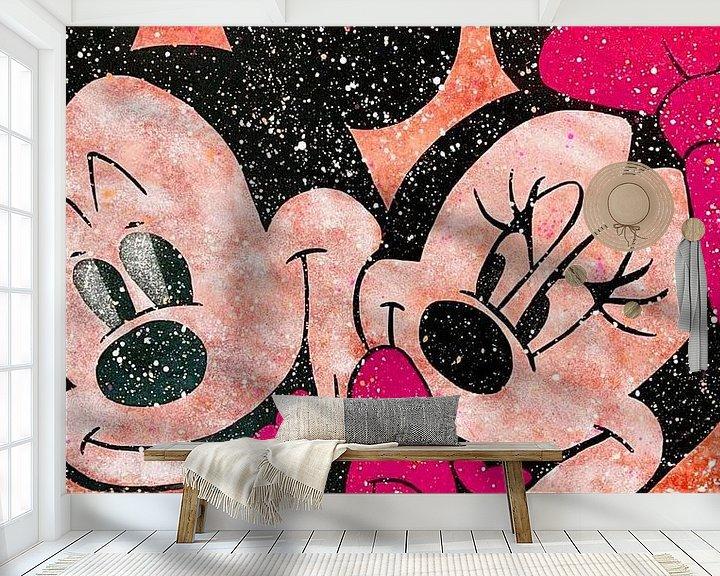 Impression: Mickey et Minnie Mouse «Amour en couleurs» sur Kathleen Artist Fine Art