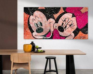 """Mickey und Minnie Mouse """"Liebe in Farbe von Kathleen Artist Fine Art"""