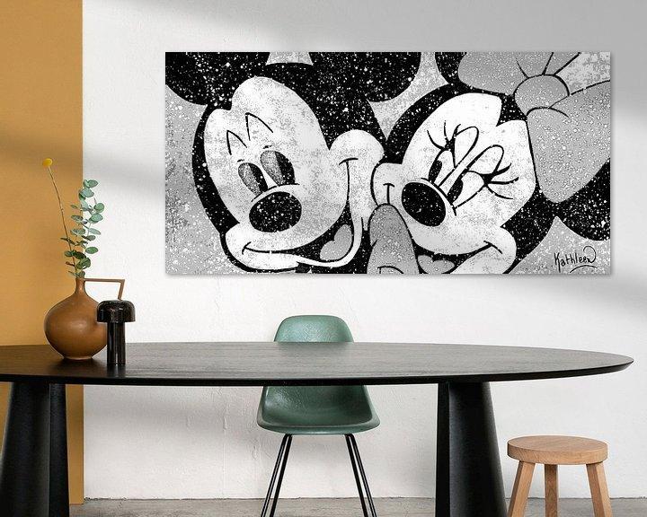 Impression: Mickey et Minnie Mouse «Amour en couleur» sur Kathleen Artist Fine Art