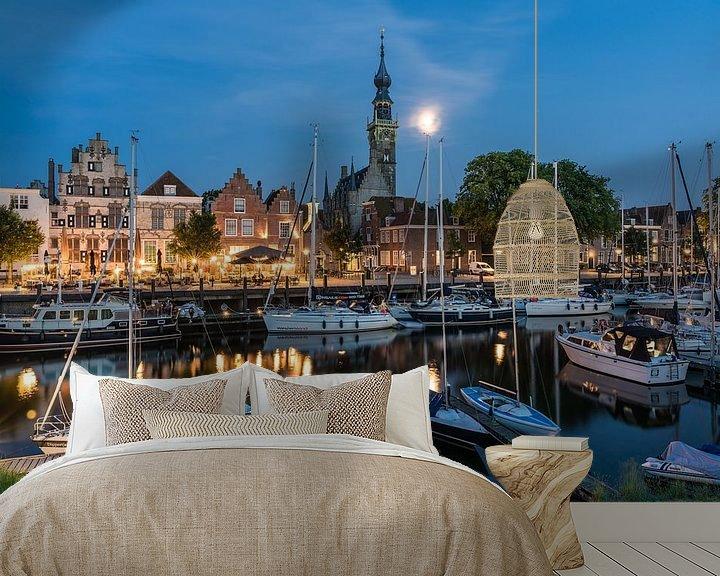 Beispiel fototapete: Der Abend ist im malerischen Veere eingebrochen, der Mond geht auf von Jeroen de Jongh