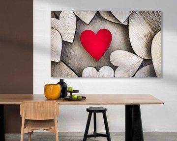 Rode houten liefde hart achtergrond van Alex Winter
