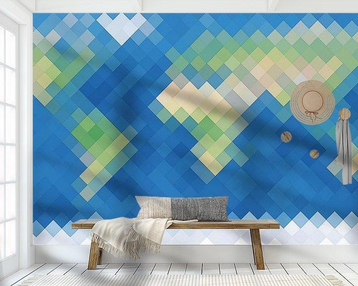 Sfeerimpressie behang: De Ruitenaardse Wereldkaart van Frans Blok