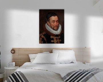Porträt von Wilhelm I., Prinz von Oranien von Adriaen Thomas mit einer Fliege auf seiner Nase von Maarten Knops