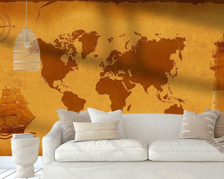 Sfeerimpressie behang: World Map nostalgische van Monika Jüngling