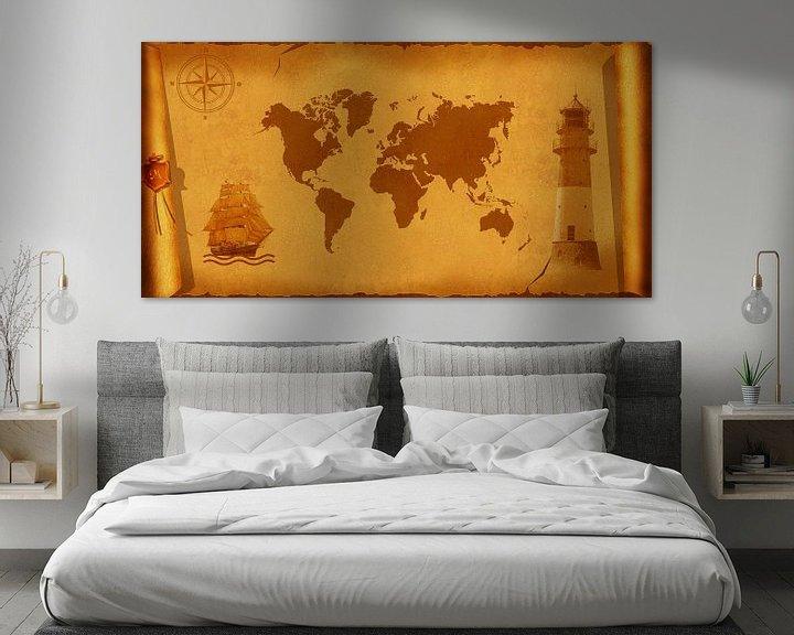 Sfeerimpressie: World Map nostalgische van Monika Jüngling