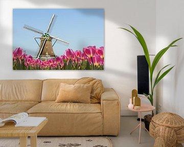 Hollandse windmolen,  blauwe lucht,  voorgrond met bloeiende tulpen van Henk van den Brink