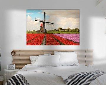 Een veld met bloeiende tulpen met op de achtergrond een molen en Hollandse wolken lucht van Henk van den Brink
