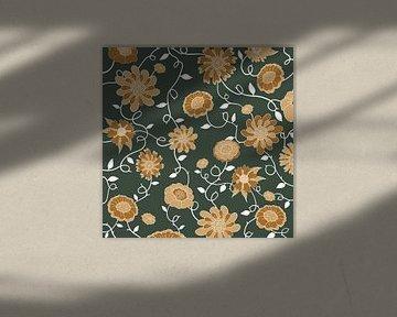 Engeland in bloemen - Royal groen & oker van Studio Hinte