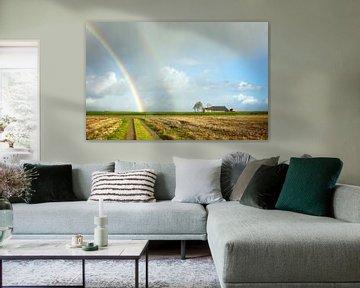 Dubbele regenboog in de Noordpolder van Bo Scheeringa Photography