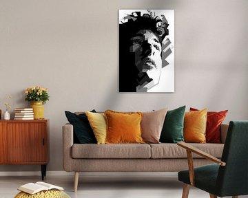 Bob Dylan Zwart Wit van Fariza Abdurrazaq